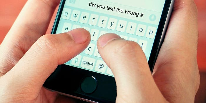 """person texting """"tfw you text the wrong #"""""""