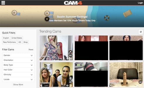 Screenshot showing available performers on cam4