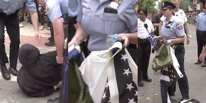 A transgender teenager is arrested during Philadephia's pride celebrating for attempting to burn a 'Blue Lives Matter' flag.