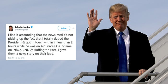 trump air force one stuttering john melendez prank call tweet