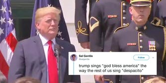 Trump fudges lyrics to 'God Bless America.'