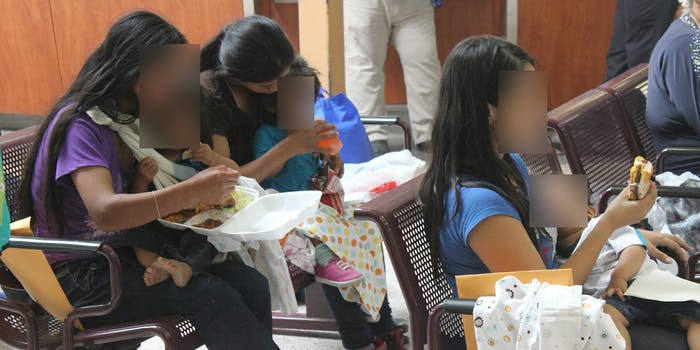 undocumented women and children at bus station