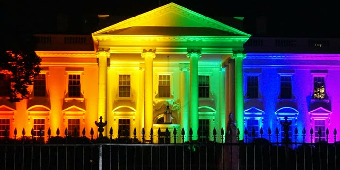 The White House bathed in rainbow lights symbolic of LGBTQ pride after the Supreme Court legalized same-sex marriage.