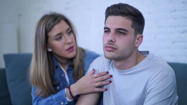 woman talking to depressed man