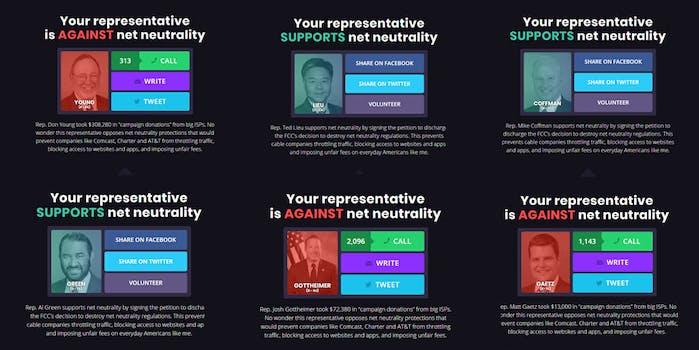 Net neutrality CRA congress House of Representatives Battle for the Net scoreboard