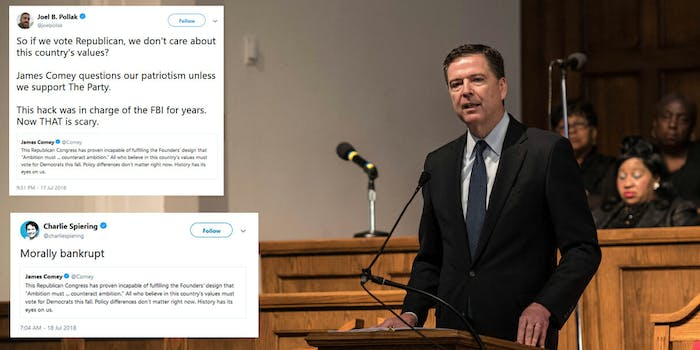 Conservatives are mad about a tweet where James Comey called on people to vote for Democrats in the 2018 midterms.