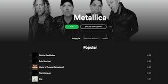 Metallica Spotify Setlist