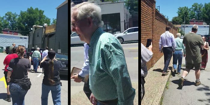 Protesters followed Senate Majority Leader Mitch McConnell to his car shouting at him after he left a restaurant in Kentucky.