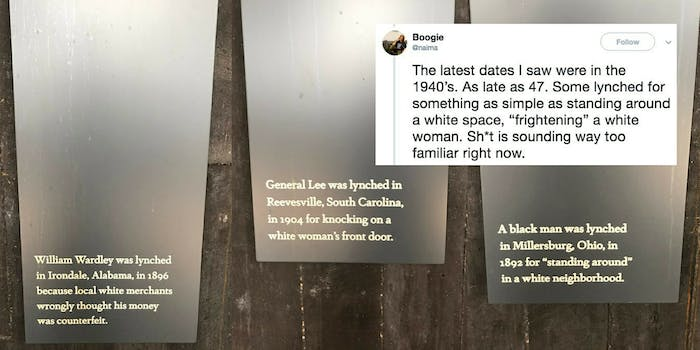 Plaques from the National Lynching Memorial describing why people were lynched.