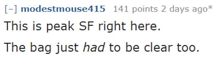 Reddit user post image of 20 pound bag of feces left on San Francisco sidewalk 6