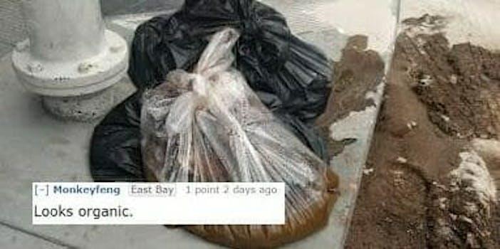 Reddit user post image of 20 pound bag of feces left on San Francisco sidewalk.