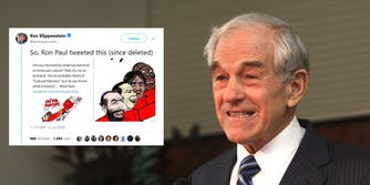 Ron Paul is being criticized for tweeting an overtly racist picture.