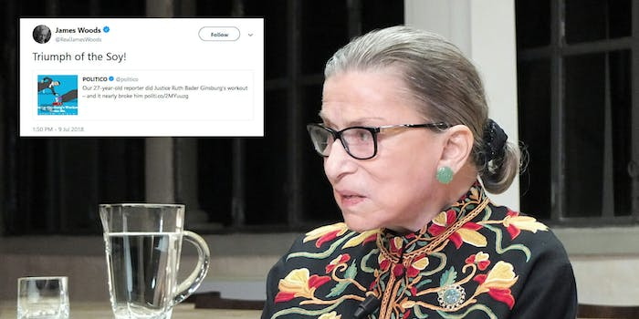 Conservatives are mocking a reporter and the workout routine of Supreme Court Justice Ruth Bader Ginsburg after Politco shared an old story.