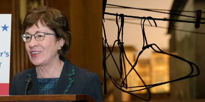 Maine Sen. Susan Collins and some wire hangers on a laundry wire.