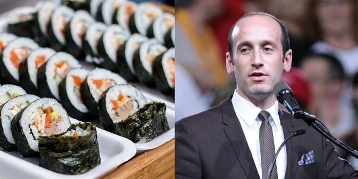 Stephen Miller reportedly threw out $80 worth of sushi after being accosted by a bartender.