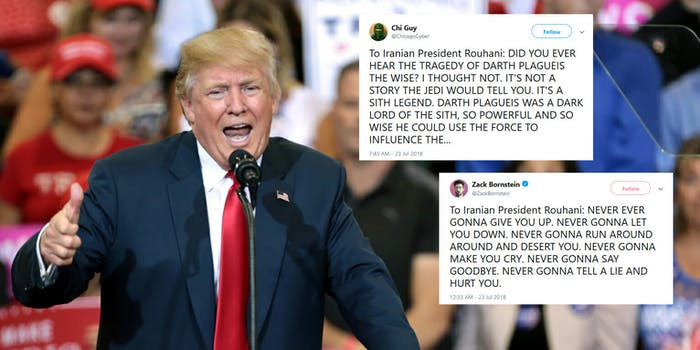 President Donald Trump made an all-caps tweet threat to Iran on Sunday. It was quickly turned into a meme–with people on Twitter mocking it mercilessly
