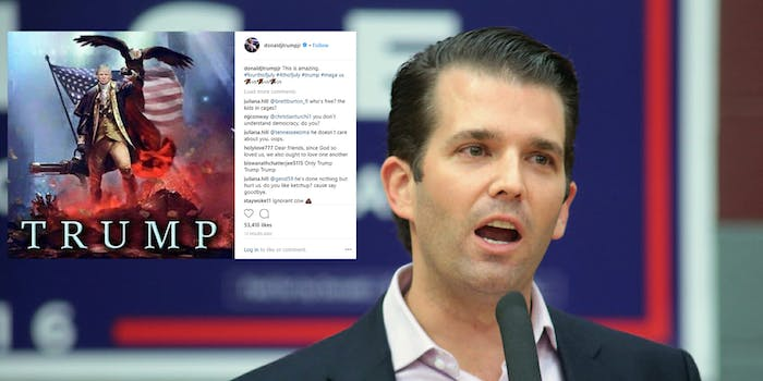 Donald Trump Jr. decided to celebrate July 4th by posting strange pictures and GIFs of his father on Instagram and Twitter.