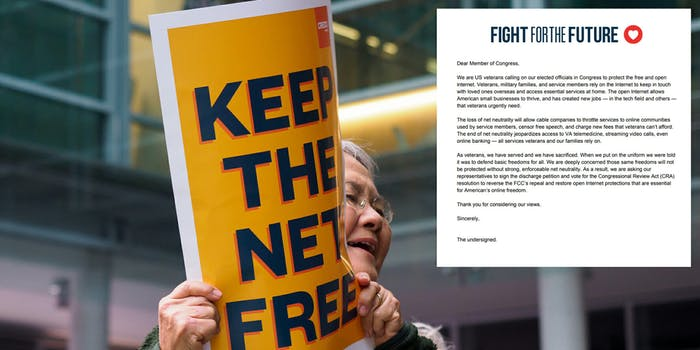 More than 1,000 veterans have signed a letter urging lawmakers to support an effort in Congress restore net neutrality rules.