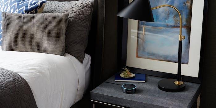 Echo Dot on bedside table