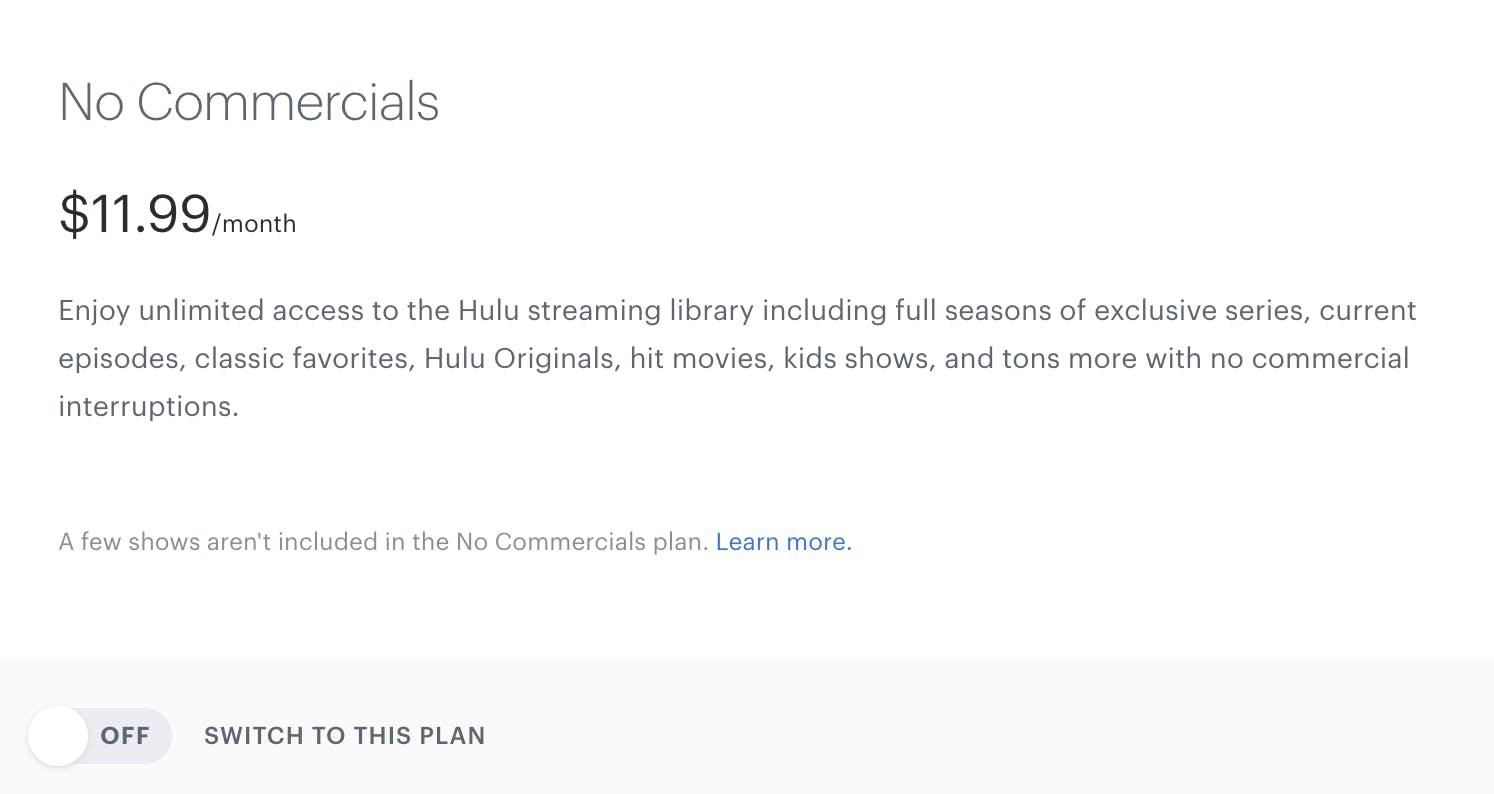 hulu no commercials cost