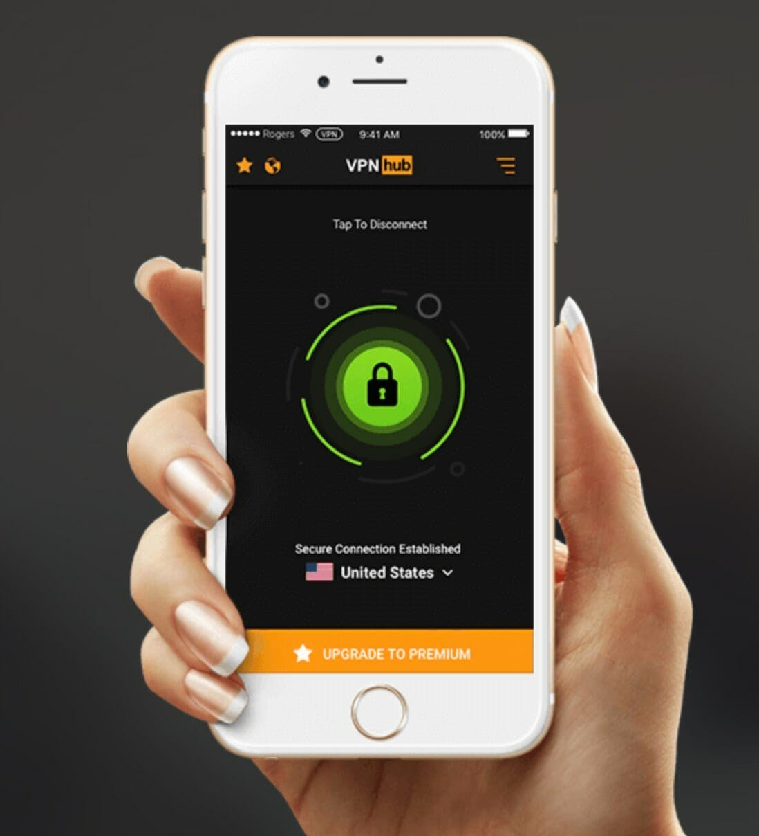An image showing a hand holding a phone that's searching vpnhub for safe porn videos