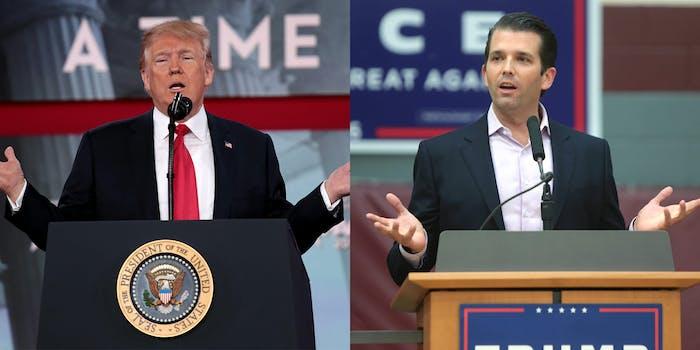 donald trump and jr shrugging