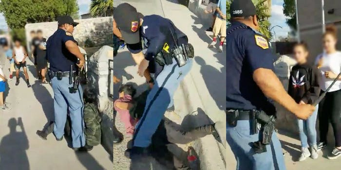 An El Paso police officer pulls his gun on children, drags a kid into the street, and whips out his baton.