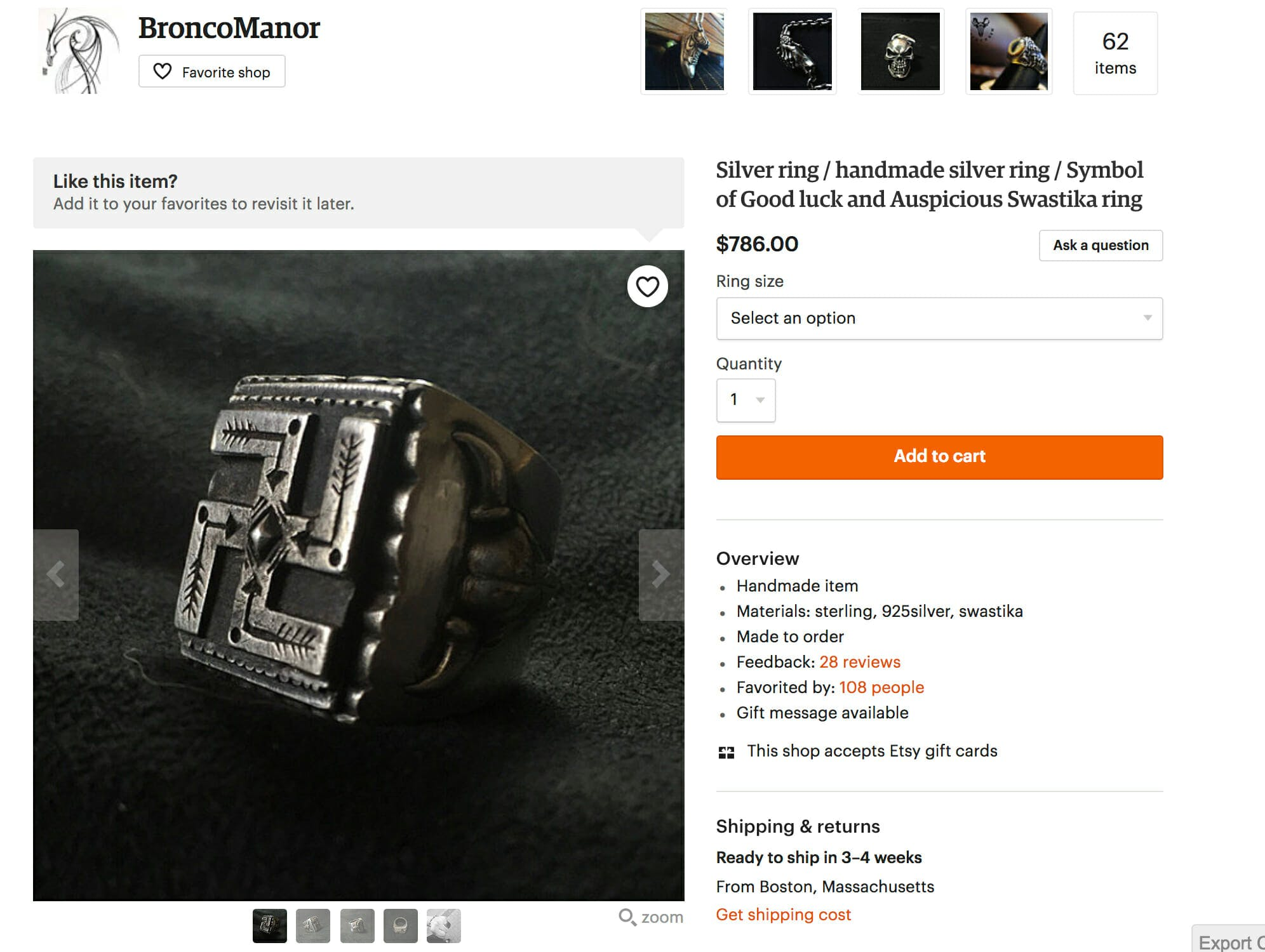 Items marked with swastikas are listed for sale on Etsy.