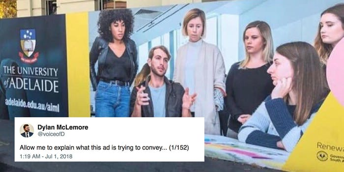 People on Twitter roasted a South Australian government ad showing a relatable mansplaining scene.