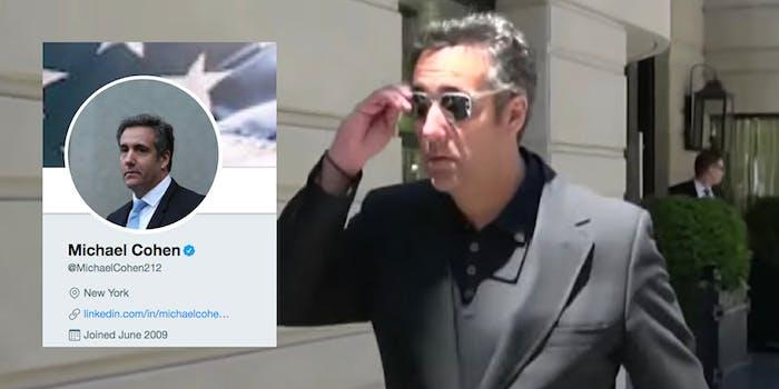 Michael Cohen's Twitter bio no longer says he's President Donald Trump's lawyer.