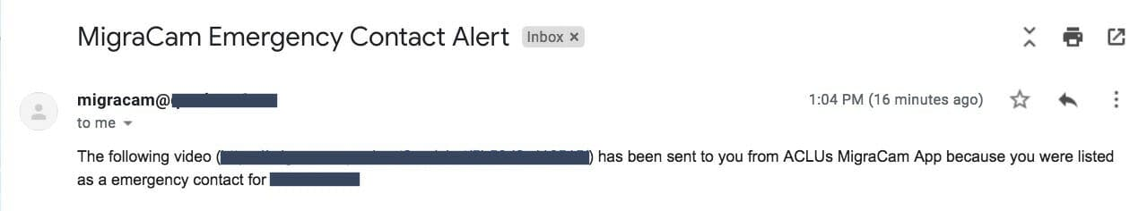 A MigraCam email alerting the emergency contact.