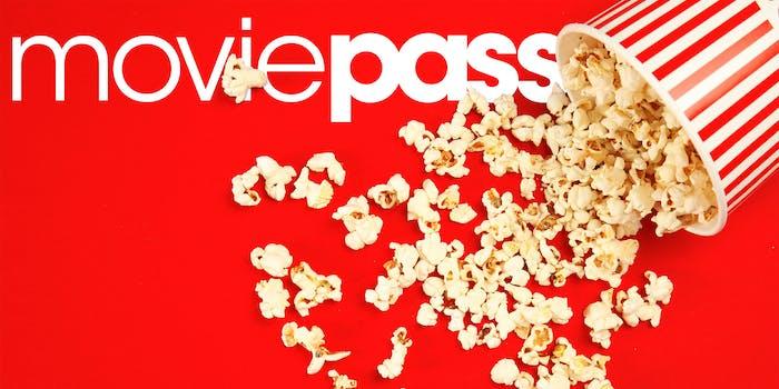 moviepass logo under spilled popcorn