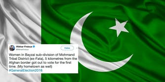 The Pakistan flag with a tweet about women voting for the first time.