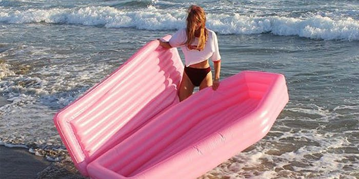 pink coffin float