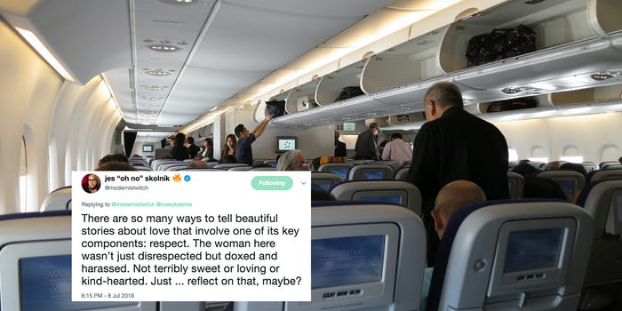 The woman at the heart of the 'Plane Bae' story has been forced off social media following harassment.
