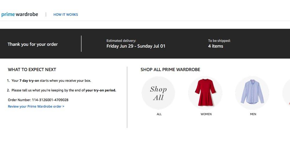 Amazon Prime Wardrobe ordered page