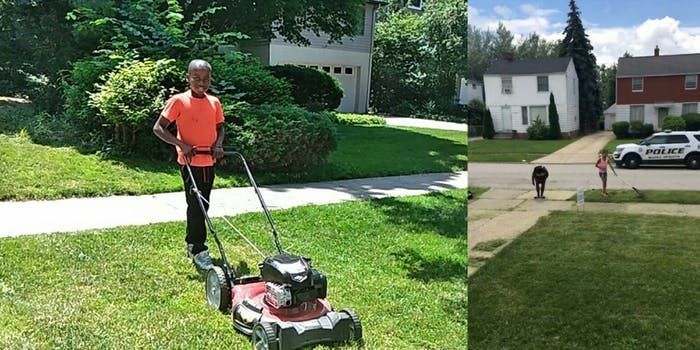 Reggie Fields cuts grass after having the police called on him by a white neighbor.