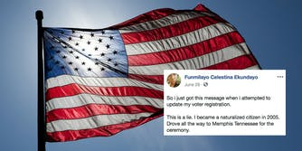An American flag waving with a Facebook post of a naturalized citizen stating that she's being told she isn't a U.S. citizen.