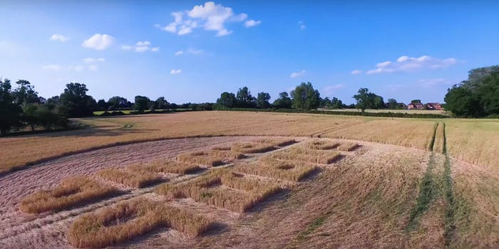 A U.K. marketing agency has claimed credit for a crop circle that says 'F**k Trump' in Russian.