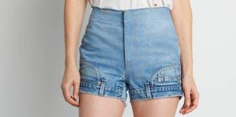upside down jean shorts