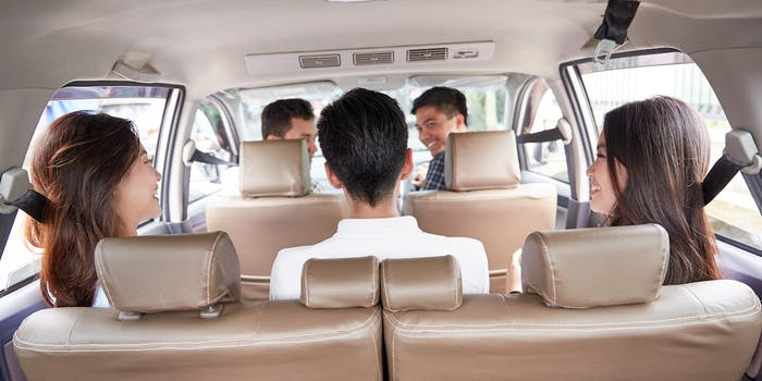 Four riders in an Uber