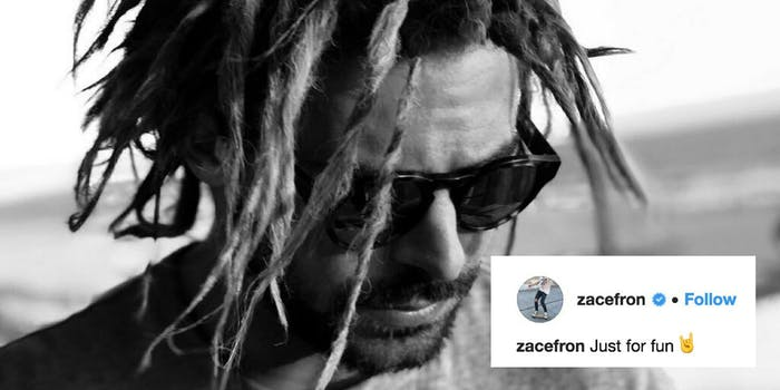 Zac Efron sports dreadlocks with an Instagram caption stating 'Just for fun,' though some accuse him of cultural appropriation.