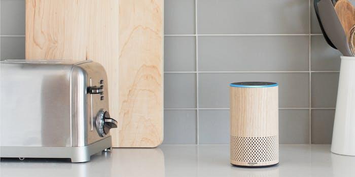 Amazon Echo on kitchen countertop