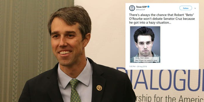 The Texas GOP Twitter account shared an old mugshot of Beto O'Rourke, who is running to replace Sen. Ted Cruz, and Twitter users bashed them quickly.