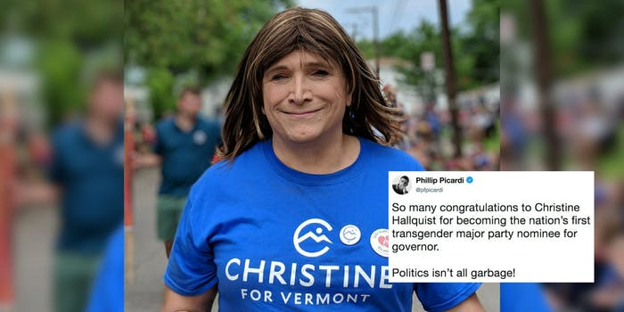 Christine Hallquist, the first openly transgender democratic nominee for governor.