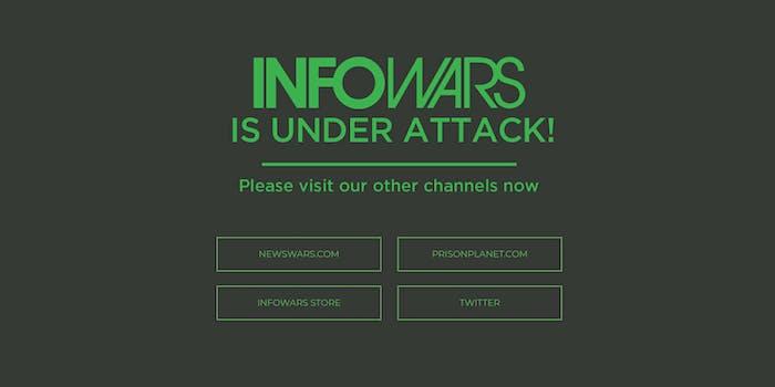 InfoWars website was down on Aug. 14