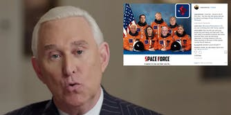 Roger Stone shared a Space Force meme on Monday where he, along with other right-wing personalities, are wearing uniforms with swastikas on them.
