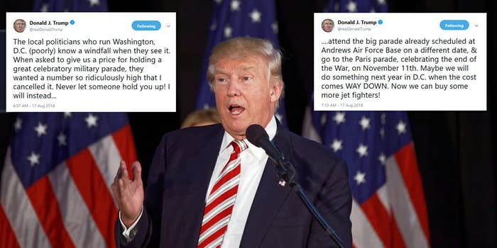 President Donald Trump said on Friday that he has cancelled his planned military parade this year and will instead go to France to see theirs.