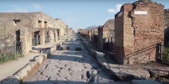Ancient Pompeii site via drone
