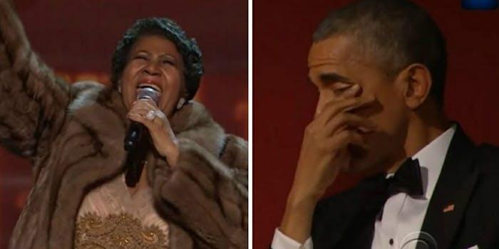 Aretha Franklin Barack Obama crying